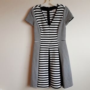 Black & White Striped Fit and Flare Dress NWOT Sz4